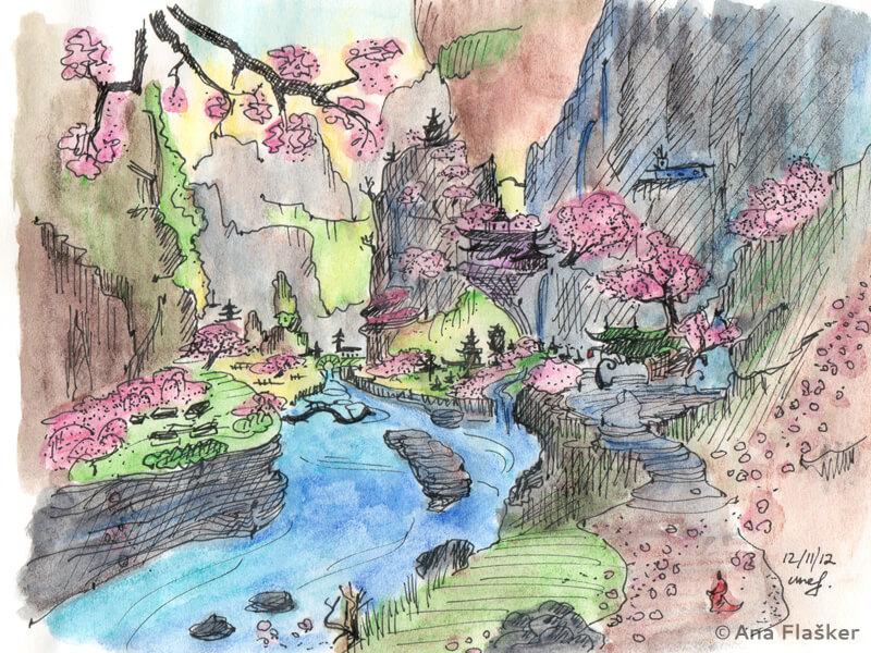 Watercolor drawing landscape