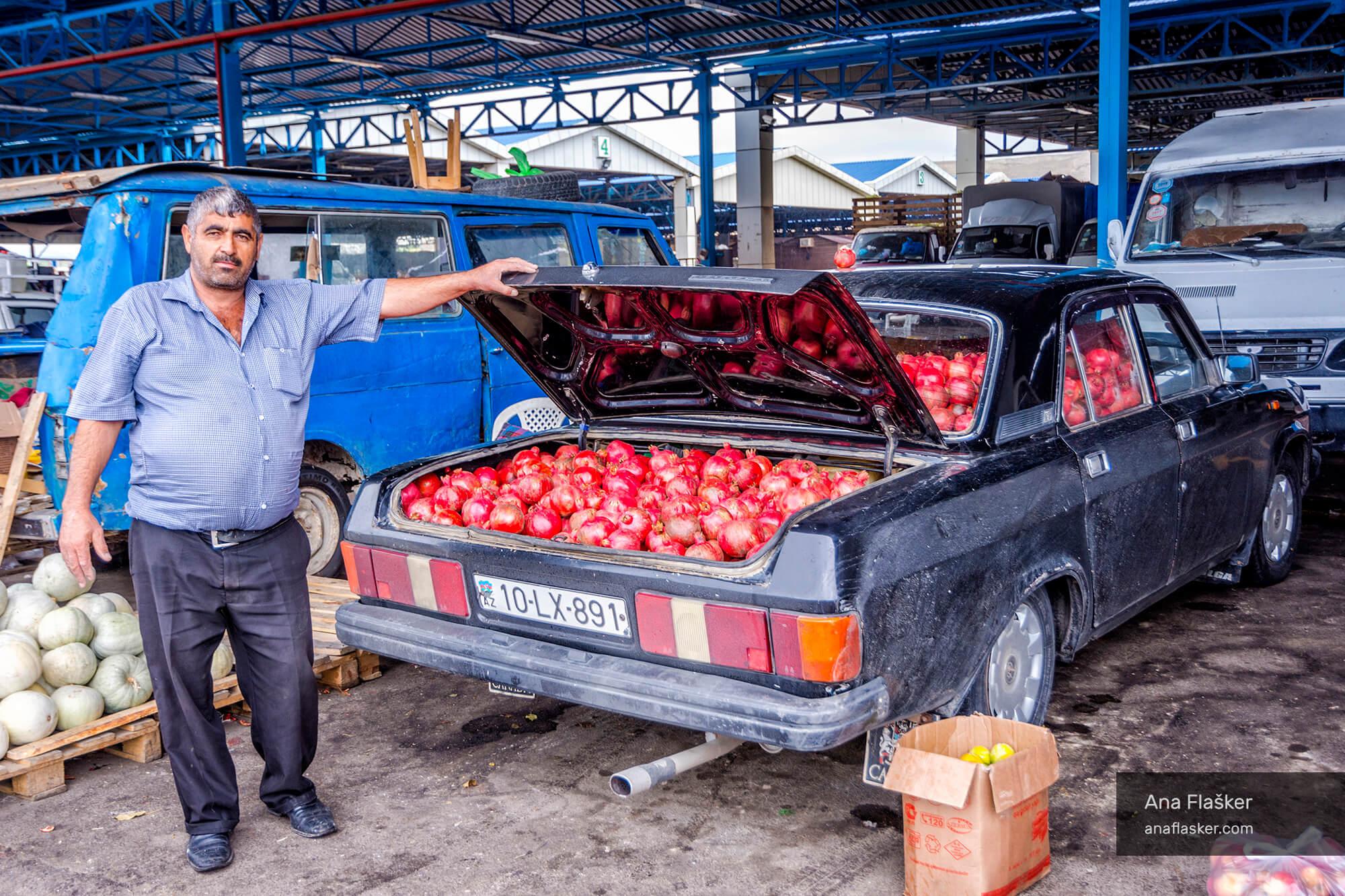 pomegranates in lada, baku, azerbaijan