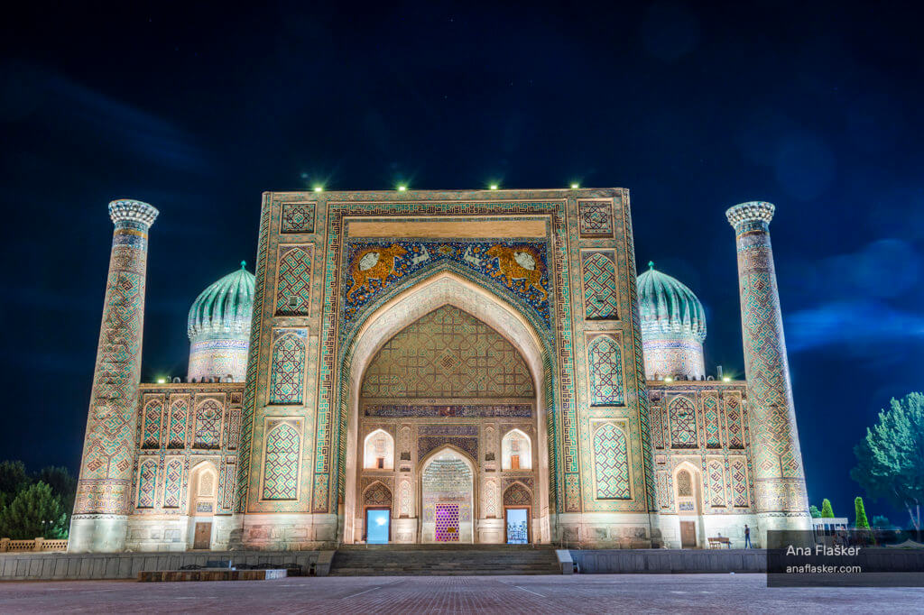 Samarkand Registan at night, Uzbekistan