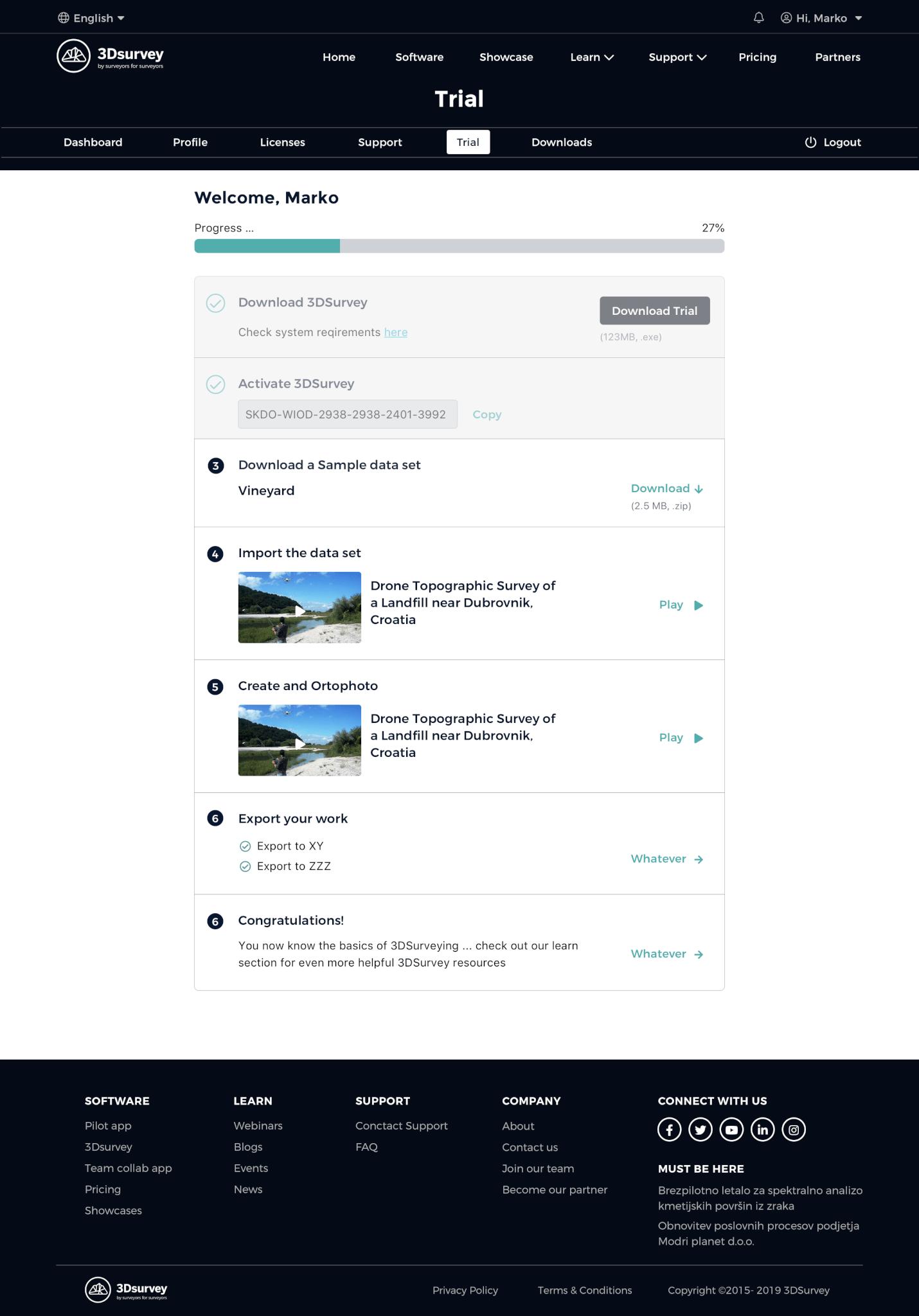 3Dsurvey trial page
