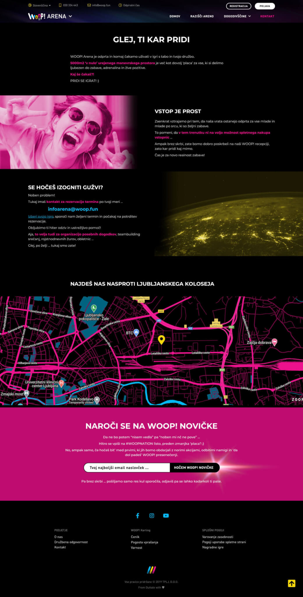 Woop Arena, Contact Page design