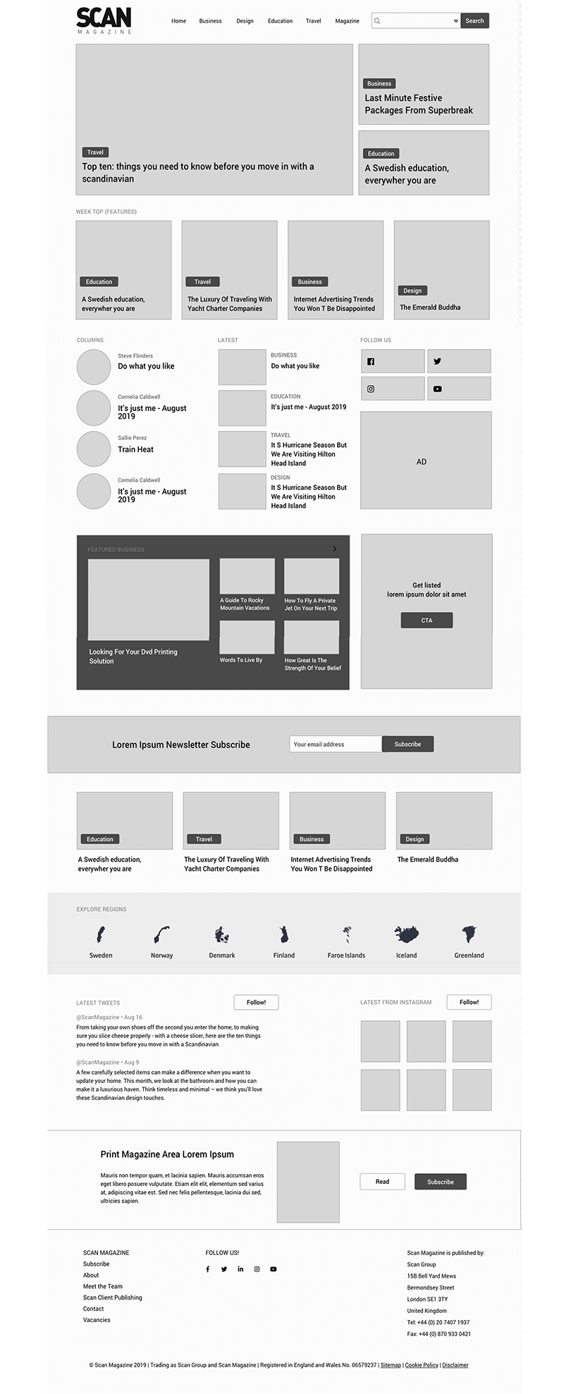 Wireframes layout